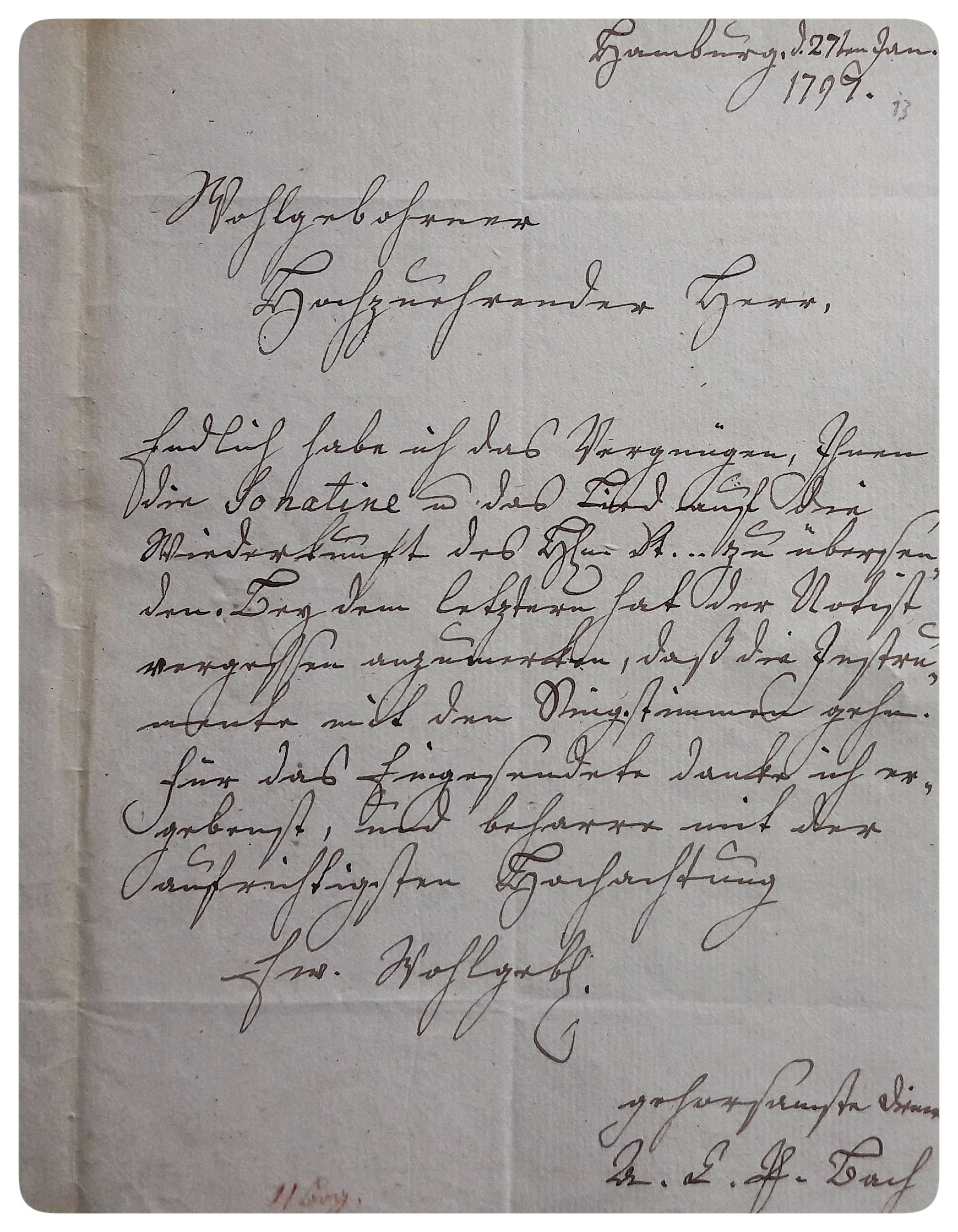 Letter by Anna Carolina Philippina Bach from 27 January 1797